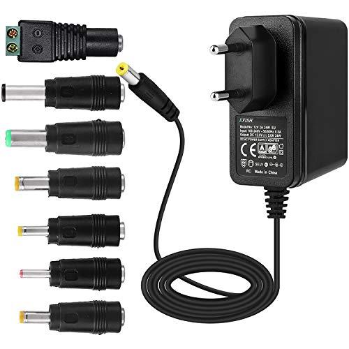 EFISH Alimentatore trasformatore 12V 2A,Spina di Alimentazione per,Telecamera CCTV,Tastiera Yamaha,Router,hub,Strisce LED,Telekom,T-Com,Speedport,radiowecker,Scanner,Interruttore+7 Diverse Spine