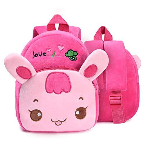 Zaino per Bambini, URAQT Animale Carino Scuola Borsa per Bambini Ragazzi Ragazze Bambino per Scuola Materna/Viaggio/Scuola//Picnic/Campeggio - Coniglio rosa