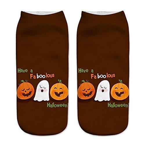 COZOCO Trabajo Casual Calcetines De Negocios Calcetines De Medio Punto De Impresión De Calabaza De Halloween 3d Medias Deportivas (una talla, F)