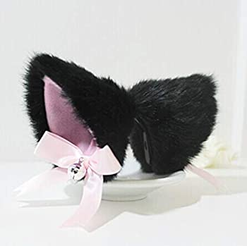 Hot Sweet Lovely Anime Lolita Cosplay Fancy Neko Cat Ears Hair Clip Black with Bell