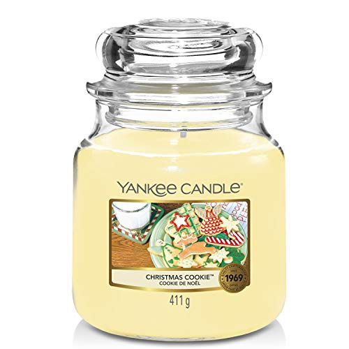 Yankee Candle Medium Jar Candle|Christmas Cookie Scented Candle|Premium Grade Paraffin Candle Wax with up to 75 Hour Burn Time