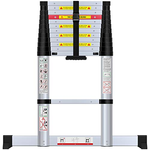 WolfWise 12.5' Aluminum Telescoping Ladder with 330 lb. Capacity - $109.49