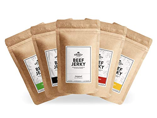 Beef Jerky • Aus Deutschland • Alle 5 Sorten • >70% Eiweiß • Rinder-Trockenfleisch im Set • 5er-Pack • (5 x 100g = 500g)