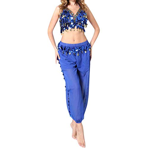 Oberteil Hose Damen Bauchtanz Kostüm Set Piebo Aladdin Kostüm Orient Kostüm Faschingskostüm Chiffon Karnevalkostüm Indischer Tanz Darbietungen Kleidung Festival Show Kostüme