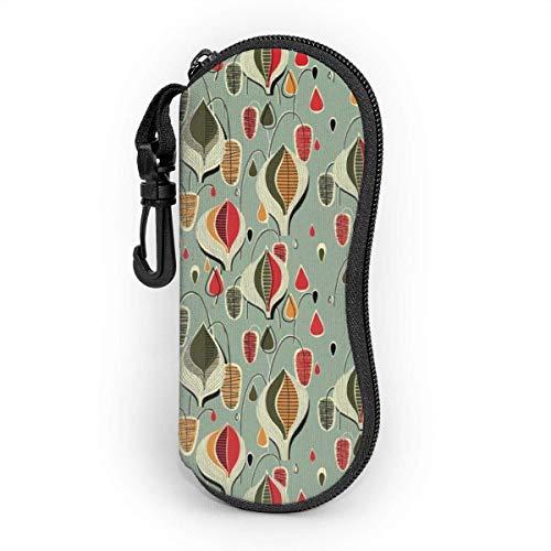 OKIJH Glasses Case with Carabiner,Atomic Raindrops Ultra Light Portable Neoprene Zipper Sunglasses Soft Case