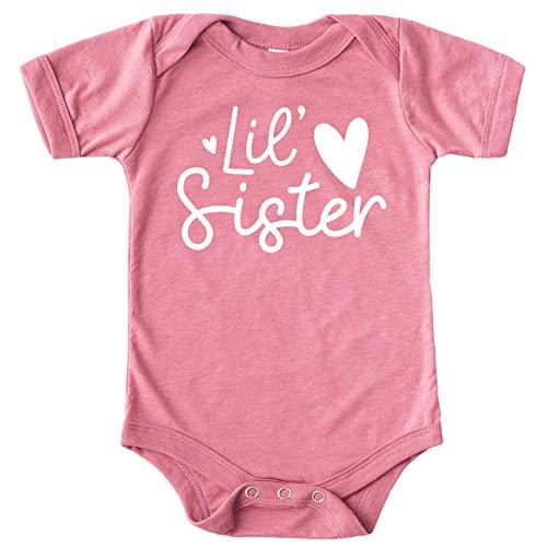 Olive Loves Apple Lil Sister Heart Bodysuit for Baby Girls Sister Sibling Outfits White on Mauve Bodysuit Newborn
