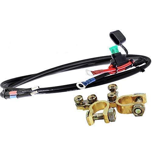 Offgridtec® 1,5m 4mm² Batteriekabel mit 20A Sicherung M8-Ringkabelschuh und Polklemmen