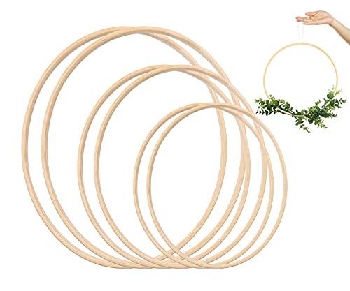 VALAM 6PCS Floraux Anneaux de Couronne Bambou Cerceau Bois en Macramé pour Attrape-rêves, Dream Catcher Anneau Rond en Bois Cerceau De Bambou Bricolage Artisanat Outils, 3 Tailles(10; 12,5; 15 CM) (1)