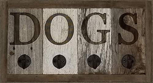 Dog Leash and Collar Holder, Reclaimed Barn Wood Wall Mount Hanger 4 Hook Rack Unique Dog Themed Gift Home Decor, Farmhouse Entryway Decor.