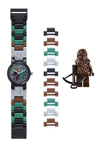LEGO Star Wars 9001116 Chewbacca Kinder-Armbanduhr mit Minifigur und Gliederarmband zum Zusammenbauen, braun/grün, Kunststoff, analoge Quarzuhr, Junge/Mädchen, offiziell