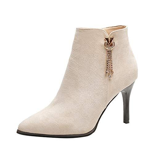 Zapatos DHG Botas Altas de Tacón Alto de Terciopelo Dorado