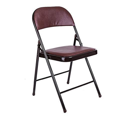 LHY Stahlklappstuhl Starker Metallrahmen Camping-Bürostuhl Platzsparender Schreibtischstuhl für temporäre Sitzplätze für Gäste, Besucher und Konferenzen,Braun
