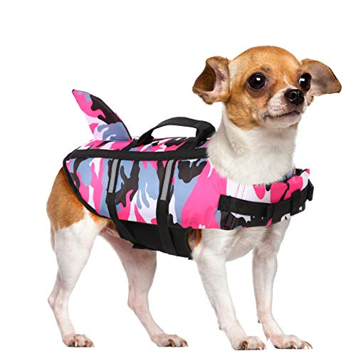 Queenmore Dog Life Jacket Pet Safety Vest High Buoyancy Camouflage Color Cute Shark with Strong Rescue Handle and Leash Ring for Boating, Canoeing, Surfing, Hunting, Pink S