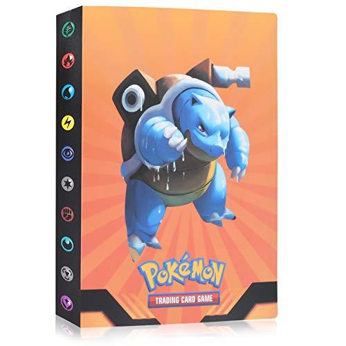 Pokémon Kartenhalter, 30 seitig Kann bis zu 120 Karten aufnehmen, PokémonTrading Card Album, Sammelkartenalben, Pokemon Karten GX EX Trainer Alben, Evolutionstraum (Orange Wasser Pfeil Schildkröte)