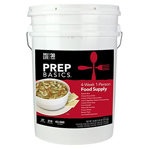 Prep Basics 4-Week 1-Person | Emergency Food Supply | 1,502 Calories Per Day | 38 Grams Protein Per...