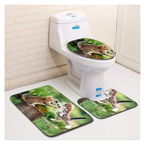 Alfombrillas de baño Suave Antideslizante Alfombra de baño de patrón de gatito 3D 3D 3 piezas, alfombra de baño absorbente no absorbente, tapete de inodoro en forma de U, cubierta de tapa de inodoro a