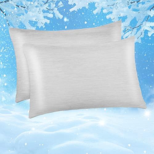 Marchpower 2er Set Kühlender Kissenbezug 40 x 80 cm, Arc-Chill Kissenhülle aus Baumwolle, Japanische Q-Max>0.4 Kühlfaser, Superweicher Kopfkissenbezug Haar- und Hautpflege mit Reißverschluss, Grau