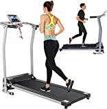 Folding Treadmill Electric Treadmills for Home with LCD Monitor,Pulse Grip and Safe Key Running Walking Jogging Exercise Fitness Machine for Home Gym Office Space Saver Easy Assembly (Silver)