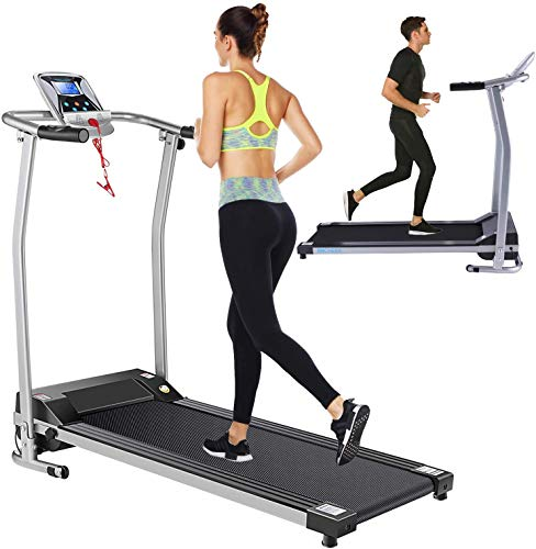 Folding Treadmill Electric Treadmills for Home with LCD Monitor,Pulse Grip and Safe Key...