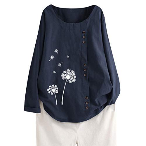 VJGOAL T-Shirt Femme Grande Taille Chic Pissenlit Imprimé Lin Coton Chemise Vintage Manches Longues T-Shirt Casual Confortable Hauts Col O Mode Printemps Automne Rue L'école Quotidien S-5XL