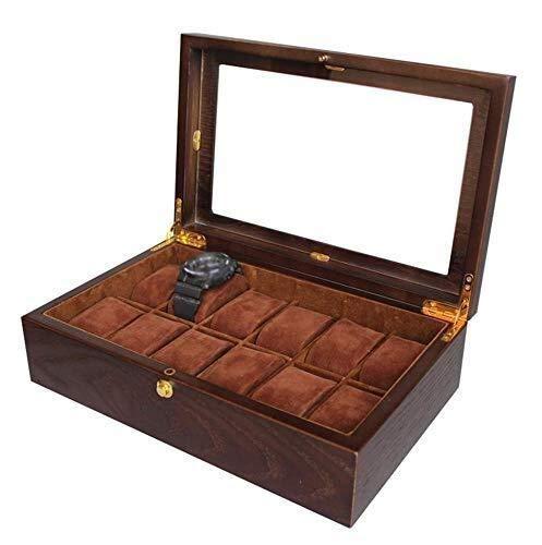 ZhenHe Caja de reloj para hombre a prueba de polvo con 12 ranuras – Caja de madera para exhibición de joyas de exhibición de joyería de almacenamiento superior de vidrio regalos para hombre