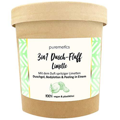puremetics 3in1 Dusch-Fluff (250g) | Duschgel, Peeling und Lotion in Einem | 100% vegan & plastikfrei | pflegend, hautverfeinernd & glättend | ohne Mikroplastik | Meersalzpeeling (Limette)