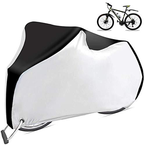 Cymax Copri Bicicletta Impermeabile Telo Copribici Copertura Antipolveri Anti-UV per Bicicletta con Sacca per Il Trasporto, 200 x 110 x 70 CM (Nero & Argento XL)