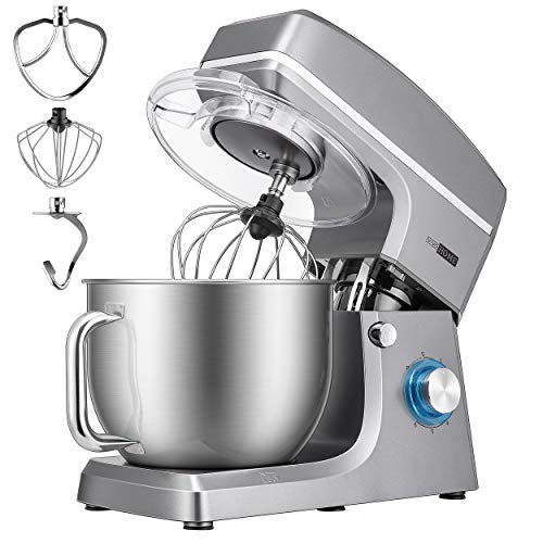 VIVOHOME 7.5 Quart Stand Mixer, 660W 6-Speed Tilt-Head Kitchen Electric Food Mixer with Beater, Dough Hook and Wire Whip, ETL Listed, Iron Gray