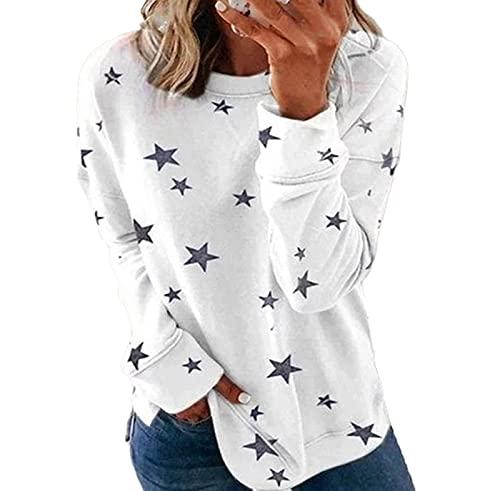SLYZ Camiseta De Manga Larga Estampada para Mujer De Primavera Y Otoño Camiseta Holgada De Gran Tamaño Sudadera con Cuello Redondo para Mujer