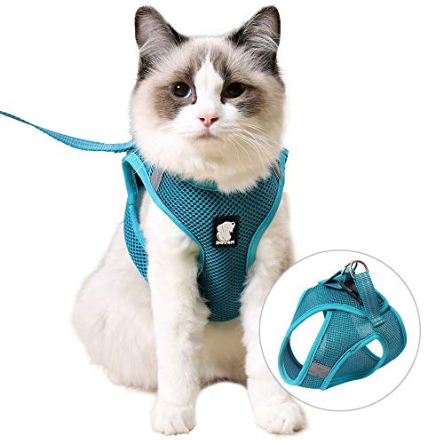 FDOYLCLC Cat Chest Adjustable Escape Proof Harness with Leash Set for Walking, Cat Best Vest Travel Outdoor Jacket, Comfortable Soft Mesh Cat Harness for Small Large Dog Kitten Rabbit