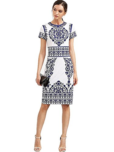 Floerns Women's Porcelain Print Work Sheath Business Pencil Dress Large White
