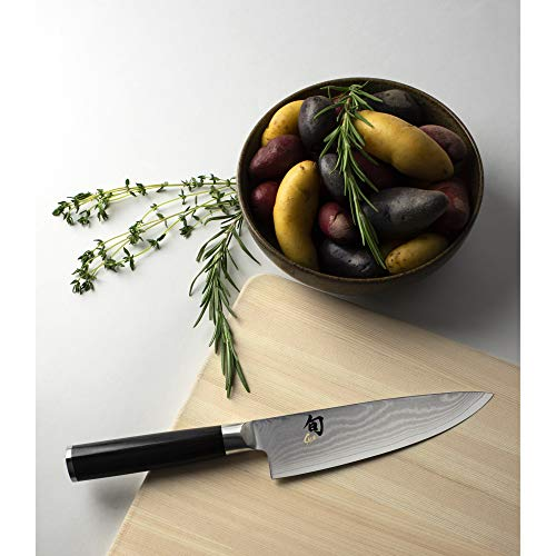 Shun Classic Chef Knife, Double-Bevel VG-MAX Blade Steel and Ebony PakkaWood Handle Size, Lightweight and Easy to Maneuver, Handcrafted in Japan, 6 Inch