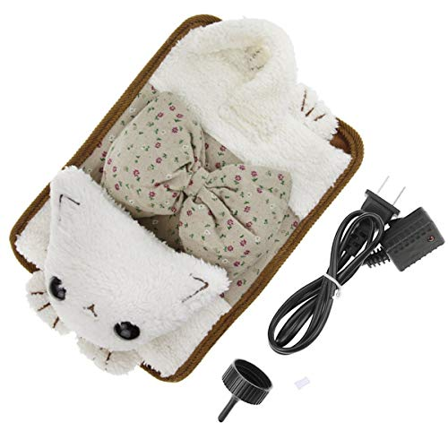 Winter Hand Warmer Rechargeable Safe Hot Water Bag, Cute Bowknot Cat Portable Electric Heat Warming Bag Pain Relief Hot Water Bottle+Cartoon Soft Detachable Velvet Cover(No Water Injection)