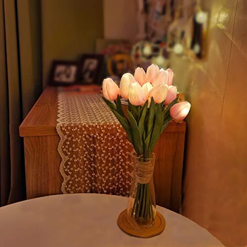 Minidiva 12 piezas de tulipanes artificiales con luz LED – Ramo de flores artificiales de tacto real para decoración del hogar, funciona con pilas, ajustes de temporizador.