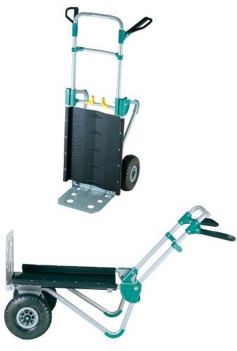 wolfcraft TS 1000 Transportsystem 5520000 | 2in1 Sackkarre und Schubkarre für Lasten bis 200 kg | Klappbarer Transportkarren für schwere Gartenmöbel, Brennholz, u.v.m.