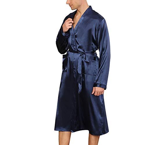 GuliriFe Kimono largo de satén de seda para hombre, con bolsillos para albornoz, ropa de noche ligera de manga larga azul S