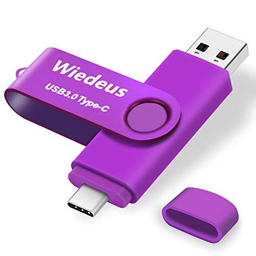 Memoria USB 3.0 64GB Tipo C Doble Conector,  Wiedeus Unidad Flash USB OTG Pendrive USB Type- C Giratoria Flash Drive para Smartphones Samsung Galaxy/LG/Google y Computadora,  Púrpura