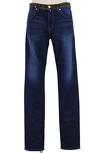 FREESOUL Jeans Hose Denim Hunter blau dunkel 5-Pocket Used Lederpatch Hunter 2553 (27/34)