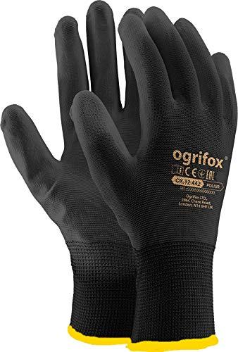Ogrifox OX-Poliur_Bb10 - Guantes de protección Ox.12.442 Poliur, color negro (10 tamaños, 12 unidades)