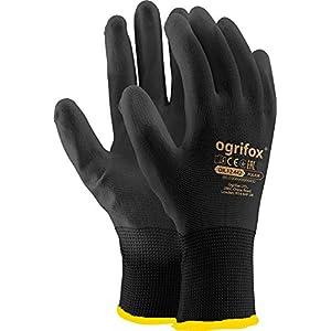 Ogrifox OX-Poliur_Bb10 – Guantes de protección Ox.12.442 Poliur, color negro (10 tamaños, 24 unidades)