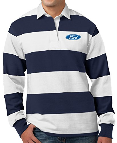 Mens Ford Oval Long Sleeve Rugby Polo Shirt (Pocket Print), 4XL Forest Navy/White