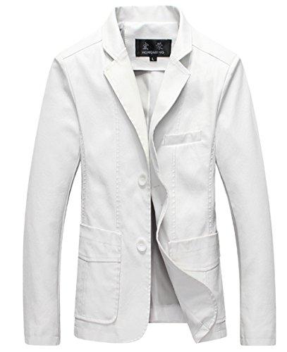 MOGU Mens PU White Leather Jacket Blazer US Size 36 (Asian Label 3XL) White