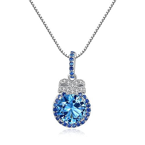 Collar Mujer Plata de ley 950 en conjunto con Colgante y pendientes de Piedra Natural Topacio Azul. Mejor regalo para Día de la Madre, Día de San Valentín, cumpleaños o Navidad