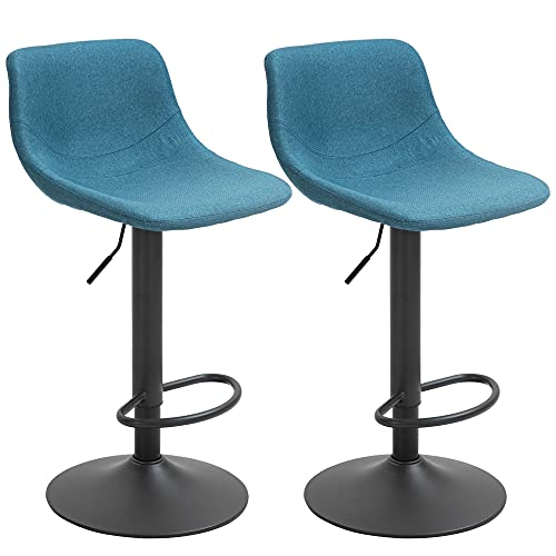 HOMCOM Swivel Bar Stools Set of 2 Bar Chairs Adjustable Height Barstools Padded with Back for Kitchen, Counter, and Home Bar, Blue