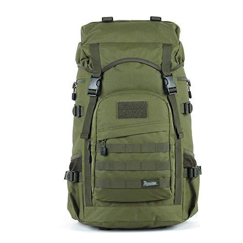 TFTREE Jagdrucksack, Wanderrucksack 50L, geeignet zum Wandern und Bergsteigen, MOLLE-System, großvolumiger Regenschutz, militärischer 3-Tage-Angriffsrucksack, Outdoor-Rucksack-green