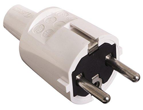 as - Schwabe 62221 PVC Stecker, weiß, doppelter Schutzkontakt, 230 V