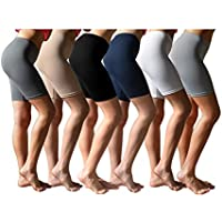 6-Pack Sexy Basics Women's Buttery Soft Brushed Active Stretch Yoga Bike Short