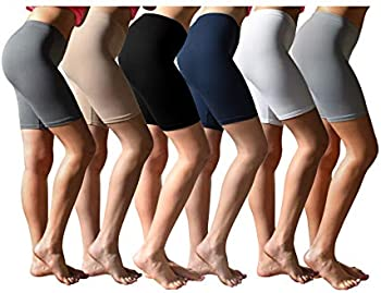 6-Pack Sexy Basics Women's Buttery Soft Brushed Active Stretch Short