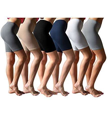 Sexy Basics Womens 6 Pack Buttery Soft Brushed Active Stretch Yoga Bike Short Boxer Briefs (6 Pack- Black/Khaki/Charcoal/Navy/Grey/White, X-Large)