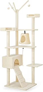Taily Cat Tree 210CM Cat Scratching Post Scratcher Tower Cat Condo House Beige